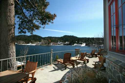 View from Point Hamiltair lakefront home in Lake Arrowhead